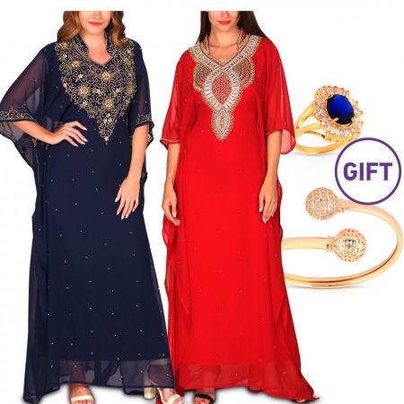 Maram Embellished Jalabiya Collection - Pack of 2 & Gift