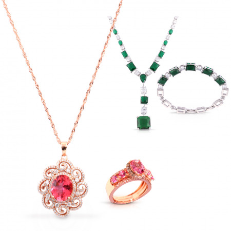 Red Topaz Jewellery Set With Emerald Jewellery set