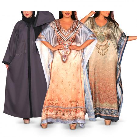 Shama Pack of 2 Printed Jalabiyas & Abaya