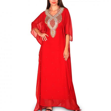 Maram Embellished Jalabiya - Red