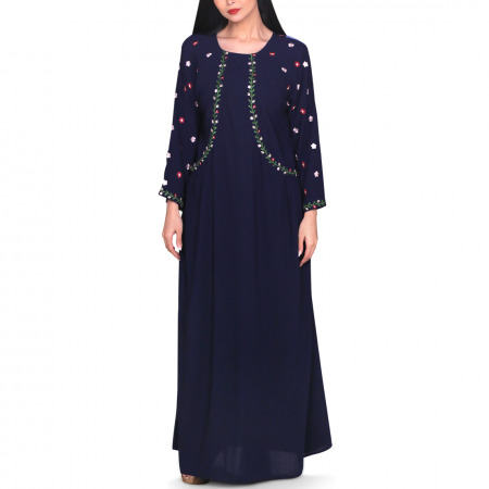 Haneen Embroidered Dress - Navy Blue