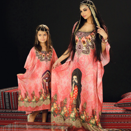 Mother & Daughter 2 pc Red Jalabiyas