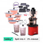 Whole Mouth Slow Juicer JE20 Red with Dura Cookware & 9 PC Bakeware Set