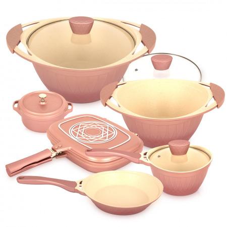 8 Pc Flora Cookware Set - Pink
