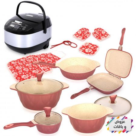 مجموعة أواني طهي مكونة من 8 قطع - وردي مع جهاز طهي مُتعدد الاستخدامات 700 واط