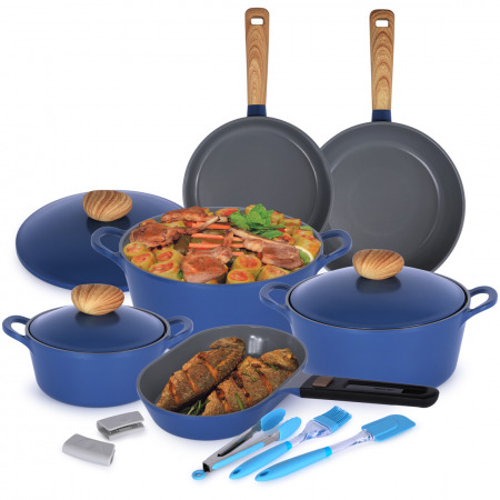 مجموعة أواني الطهي ريترو من منال العالم 10 قطع أزرق فاتح مع هدية