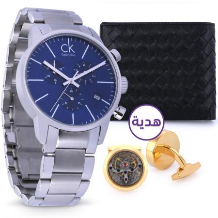 ساعة يد كرونوغراف الكلاسيكية للرجال بميناء أزرق مع هدايا