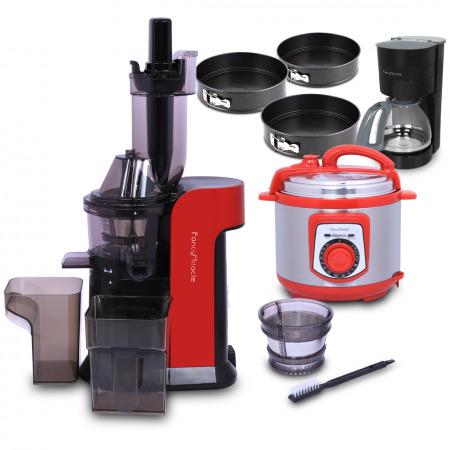 عصارة ذات فوهة كبيرة - أحمر مع طنجرة ضغط كهربائية، ماكينة القهوة بالتنقيط ومجموعة مكونة صواني خبز