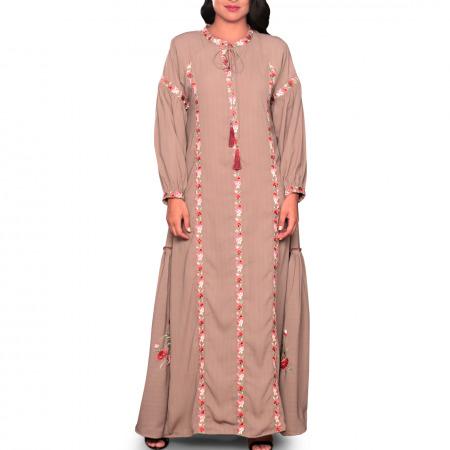 فستان حسناء المُطرز باللون البني - صغير/متوسط