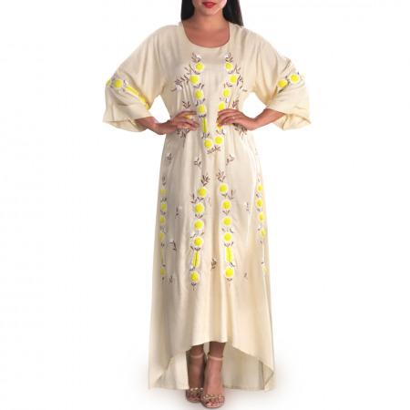 فستان أريج المُطرز باللون البيج
