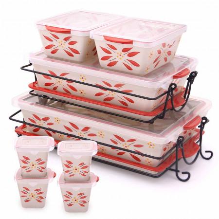 مجموعة صواني وأواني خبز 20 قطعة أولد ورلد - أحمر