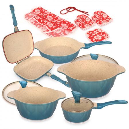 مجموعة أواني طهي مكونة من 8 قطع - أزرق مع جهاز طهي مُتعدد الاستخدامات 700 واط