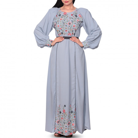 فستان حسناء المطرز باللون الأزرق - كبير/كبير جداً