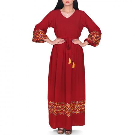 فستان حنين المطرز بلون كستنائي